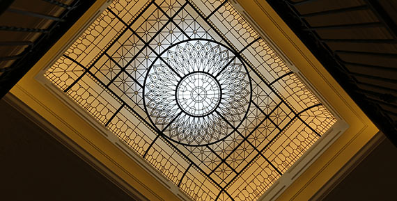 Large custom made leaded glass skylight ceiling Lyra