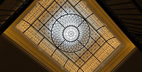 Large custom made leaded glass skylight ceiling Lyra