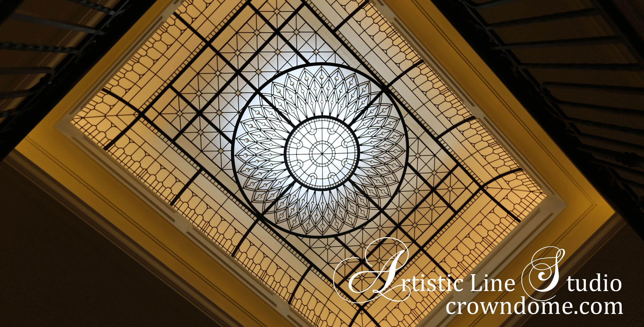 Large leaded glass skylight ceiling with clear textured glass, beveled glass and jewels for custom built residence