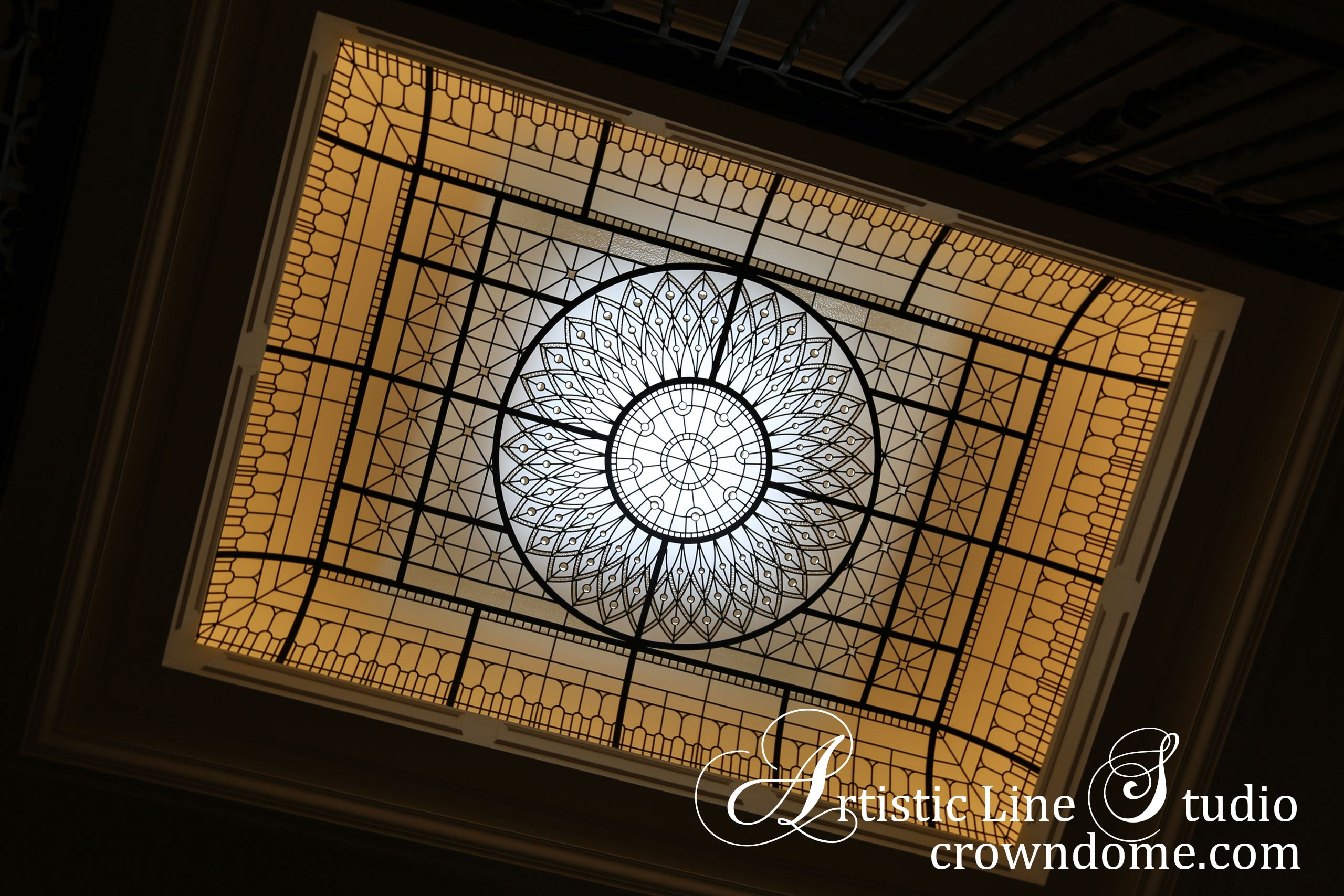 Large leaded glass skylight ceiling with beveled glass and jewels for custom built residence
