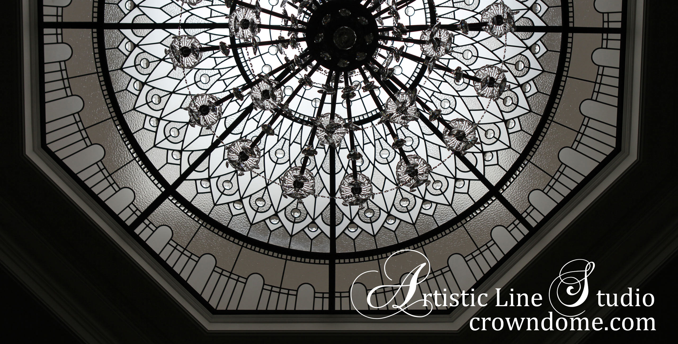 Octagon leaded glass dome with crystal glass chandelier for a custom built residence