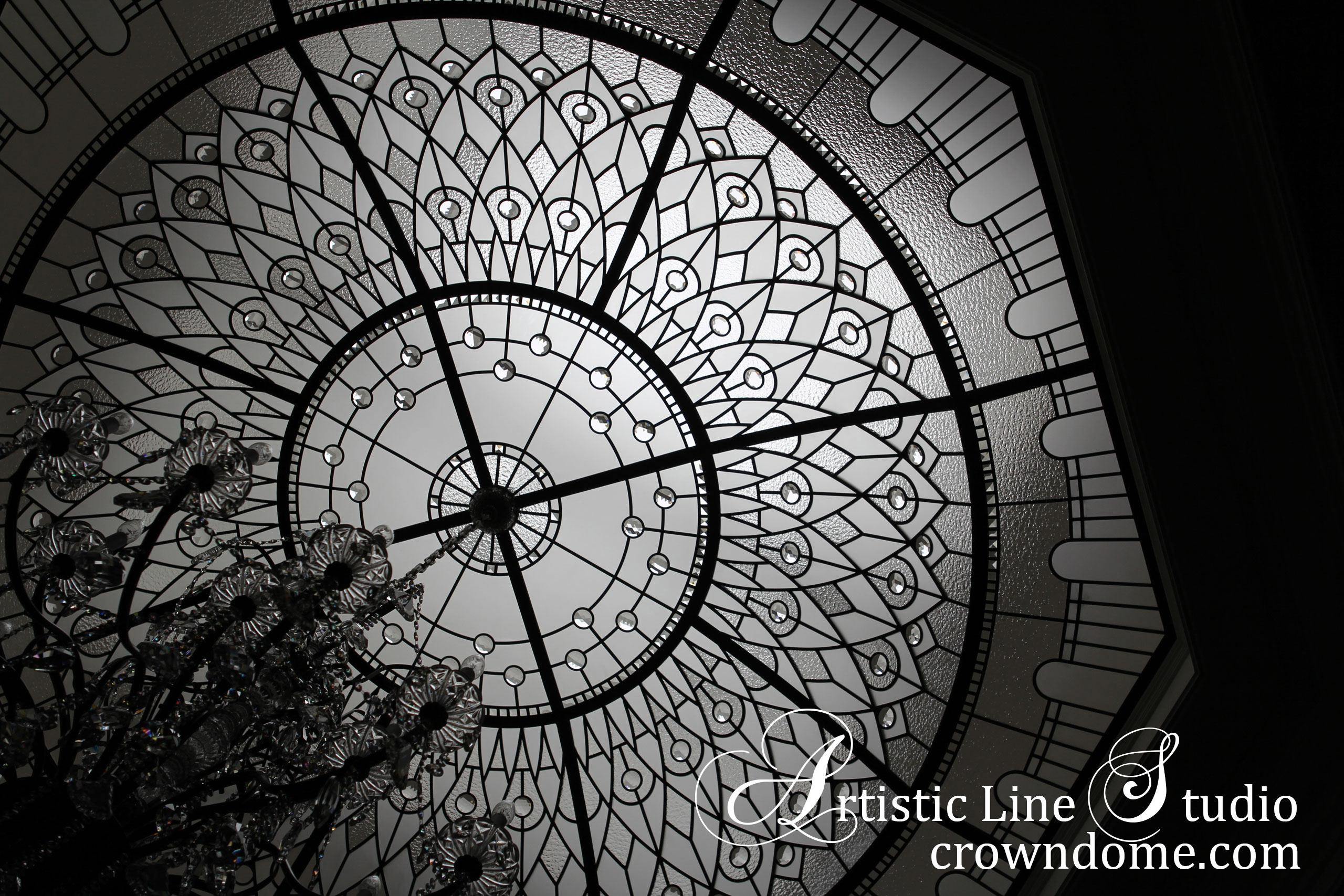 Octagon leaded glass dome ceiling with crystal glass chandelier for a custom built residence.