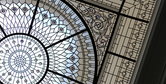 Large stained leaded glass dome ceiling The Bridle Path Toronto