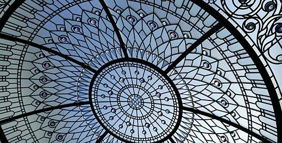 Custom stained leaded glass domed skylight Wayzata