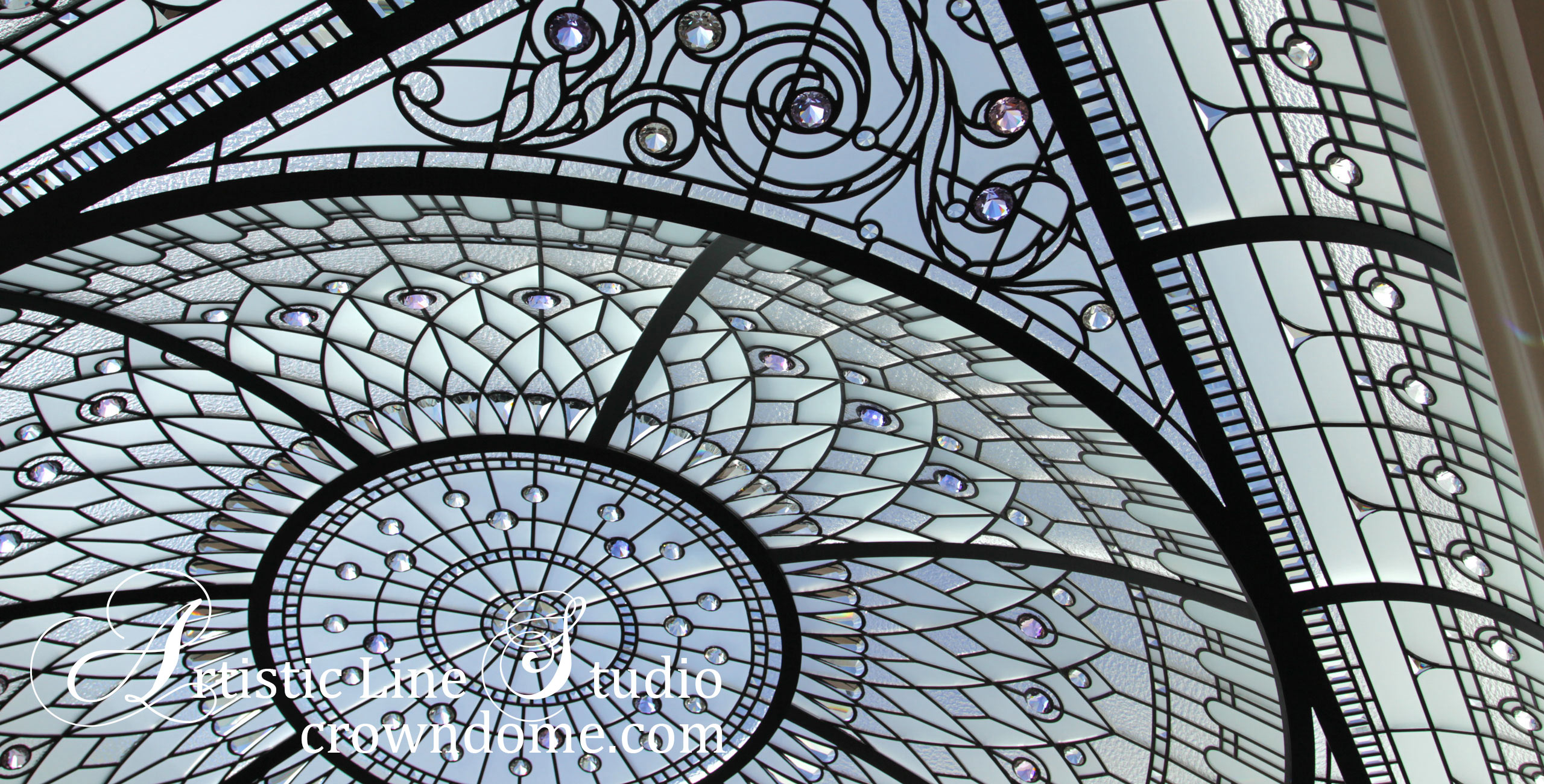 Gorgeous decorative glass skylight - stained and leaded glass domed skylight ceiling for a private residence meditation room. Architectural art masterpiece