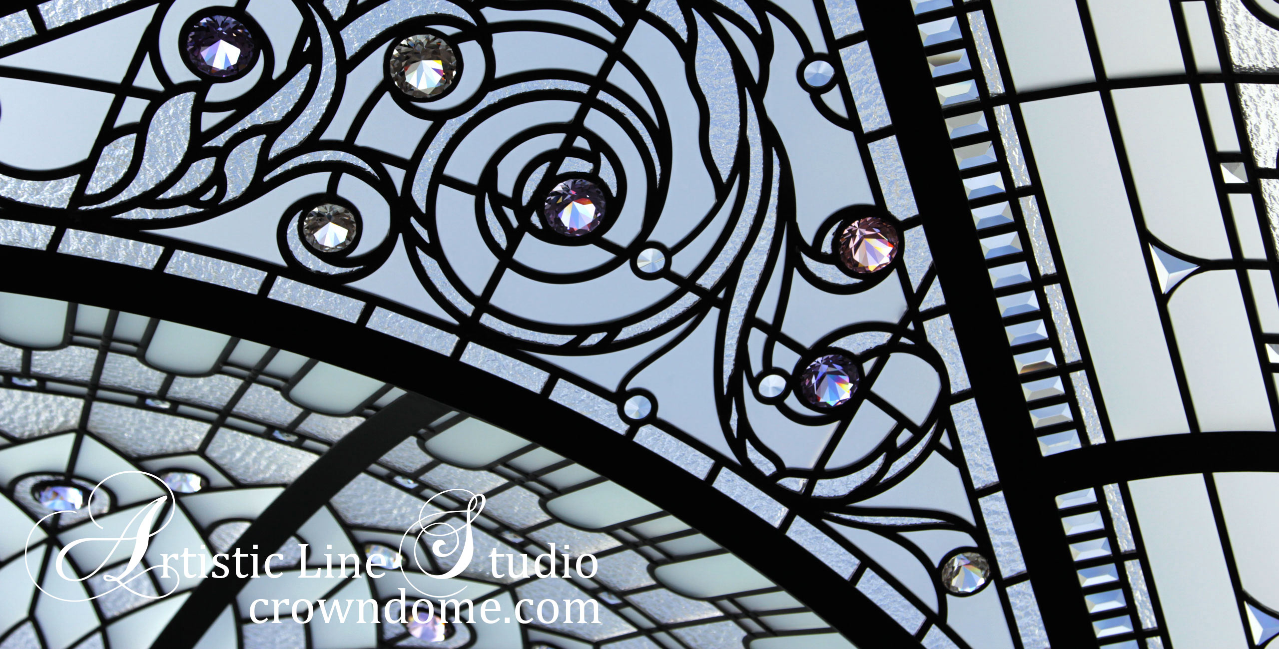 Leaded glass dome design for a private residence glass ornamental skylight ceiling