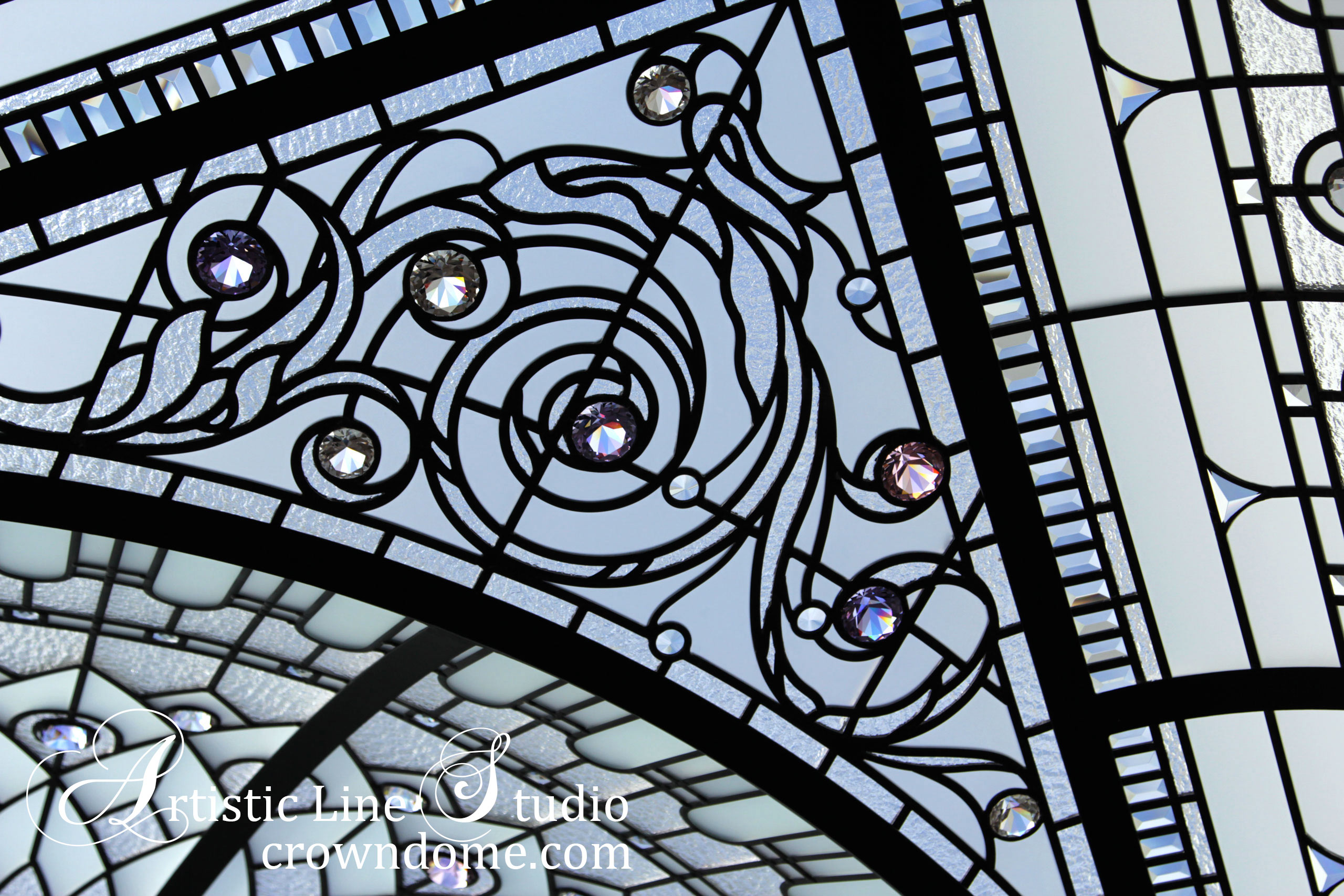 Leaded glass dome intricate design for a glass skylight ceiling with ornamental glass elements. Architectural masterpiece. Architectural art glass for a custom built house