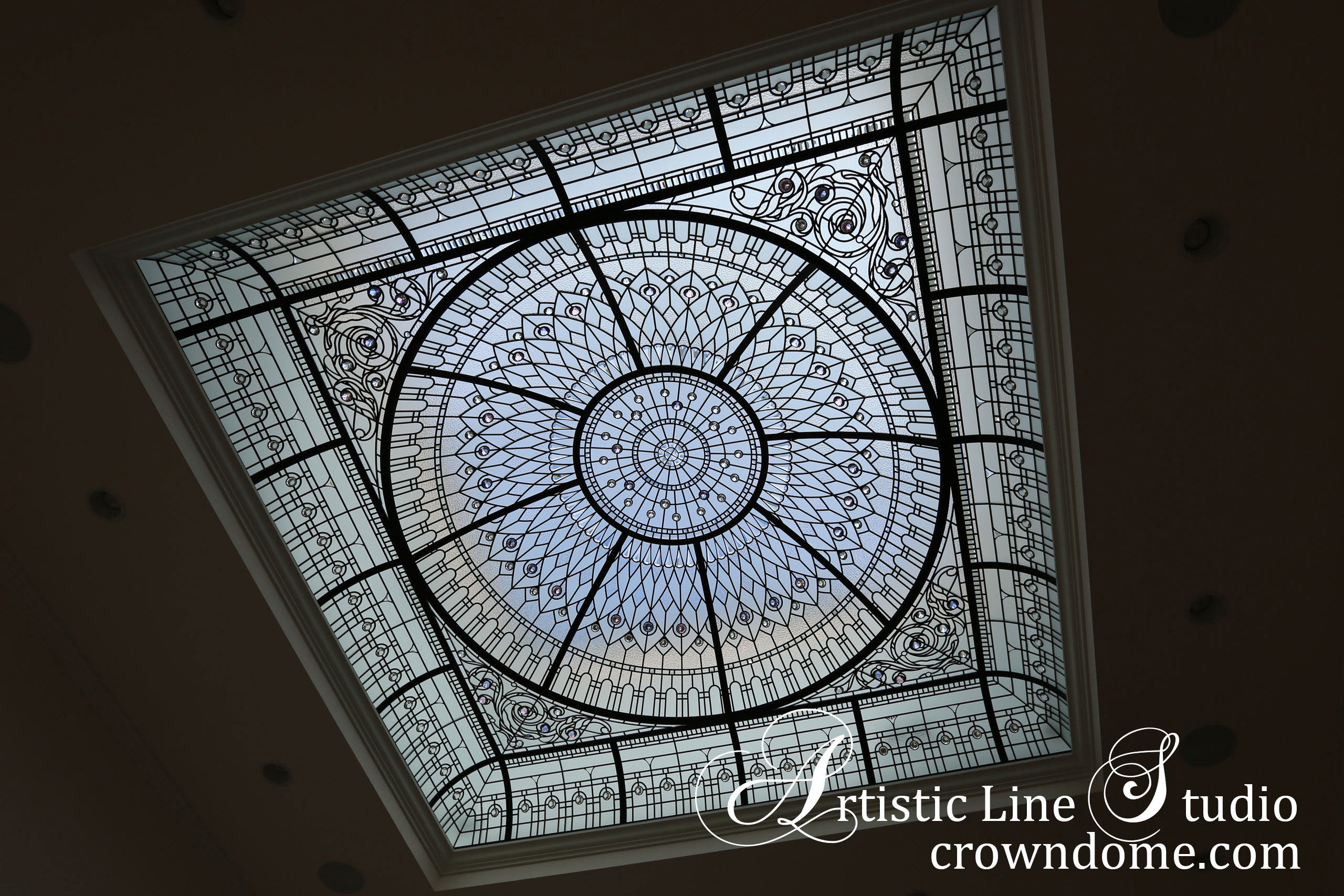 In a day light. leaded glass dome with custom bevelled glass and crystal jewels installation