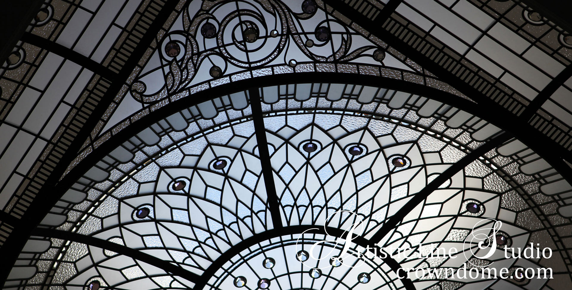 Stained glass dome with clear glass and crystal accent jewels in traditional style for a custom built luxury residence in Toronto. Inspired by historical glass ceilings