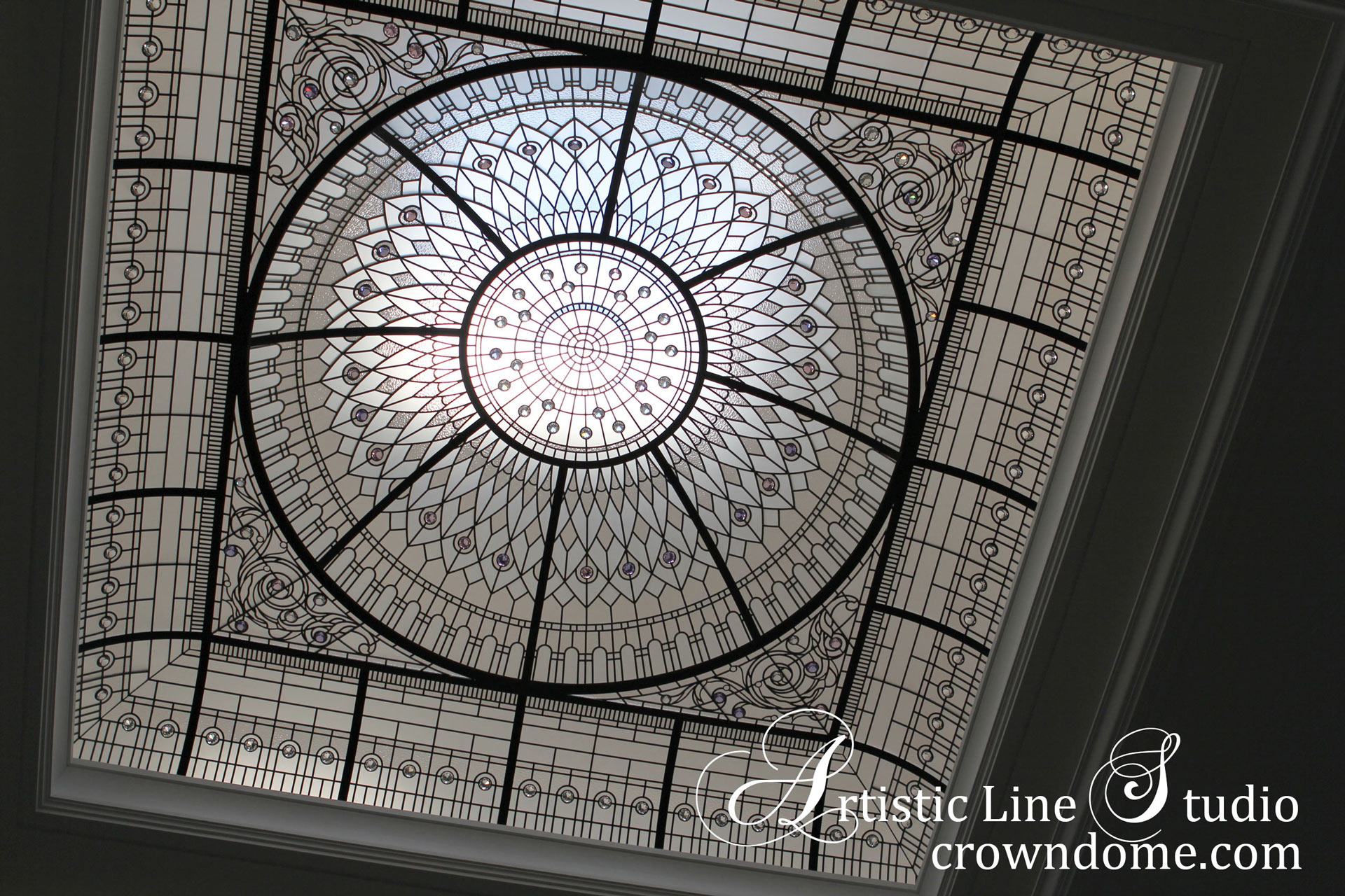 Large stained leaded glass dome skylight ceiling for an interior design of a custom built house decorative glass ceiling inspired by historical glass skylights