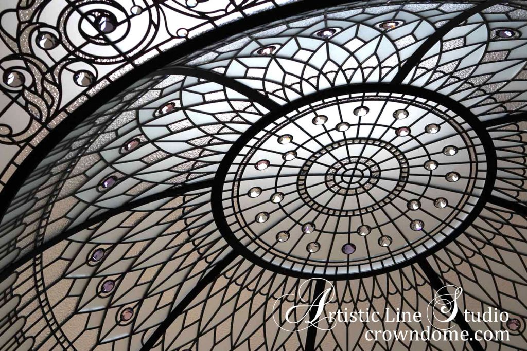 Large stained leaded glass dome skylight ceiling with clear glass and crystal accent jewels in classic traditional style for a grand entrance  foyer of a custom built luxury residence
