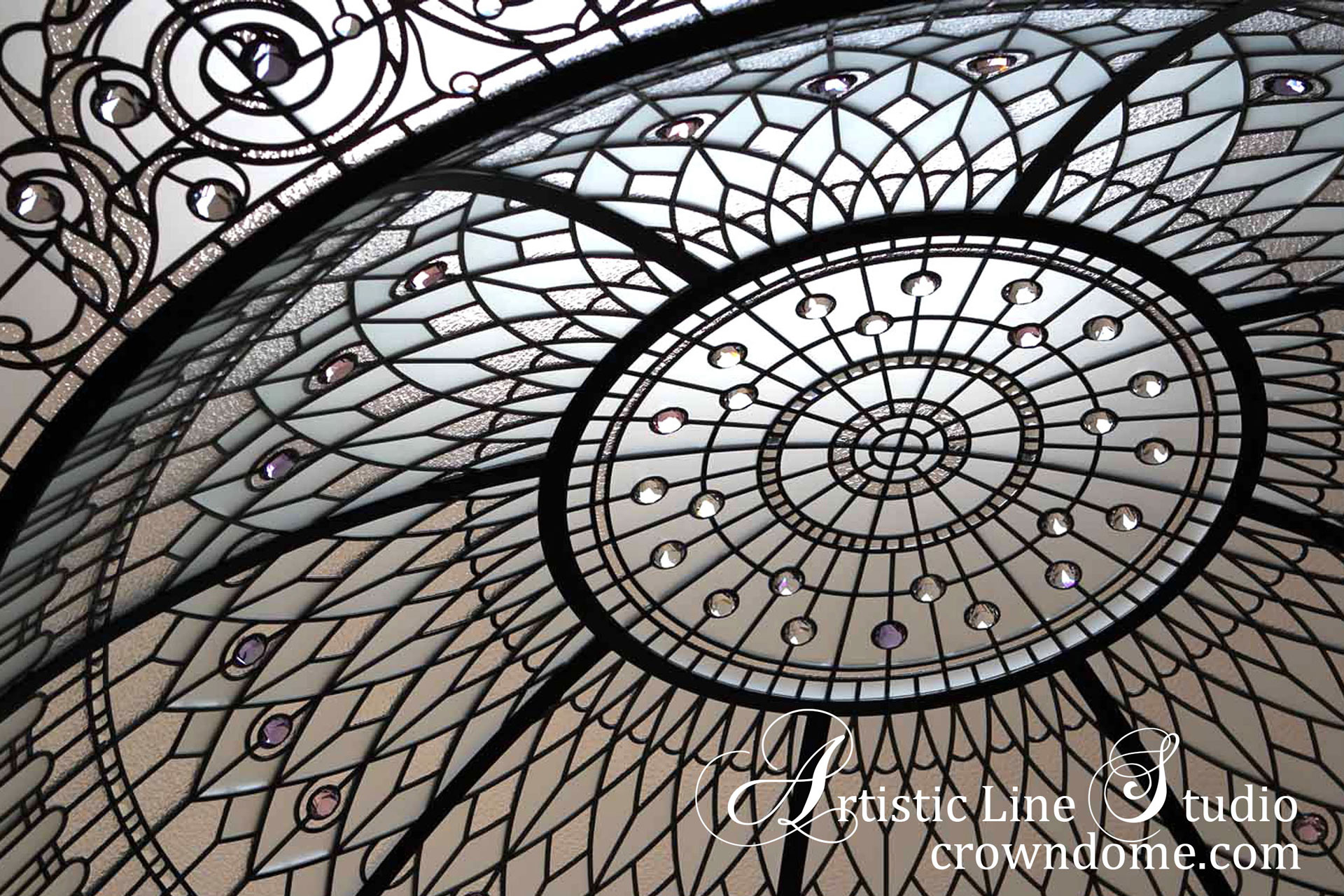 Large stained leaded glass dome skylight ceiling with clear glass and crystal accent jewels in classic traditional style for a custom built luxury residence