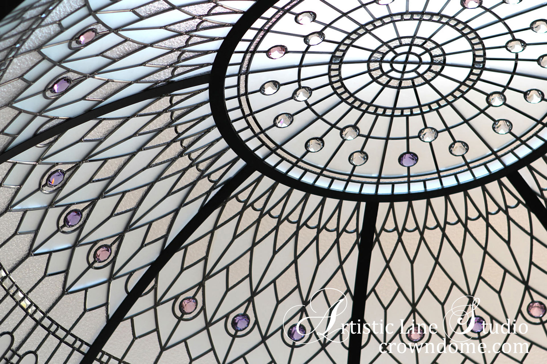 Beautiful stained leaded glass dome skylight ceiling with clear textured glass and crystal accent jewels in classic traditional style for a custom built luxury residence
