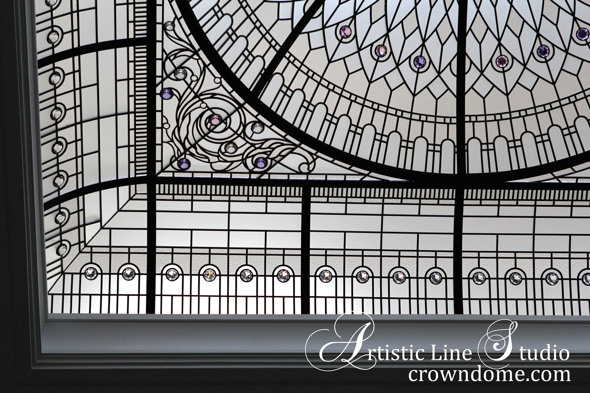 Stained leaded glass dome skylight ceiling with clear textured glass and crystal accent jewels in classic traditional style for a custom built luxury residence
