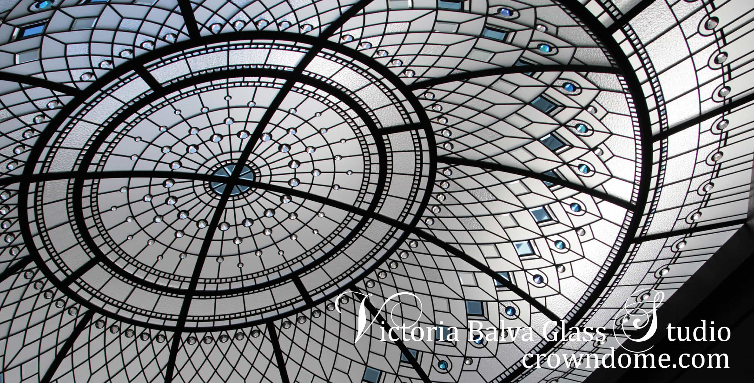 Stained glass dome skylight with hand beveled glass and bright blue, clear and bright turquoise crystal jewels for a luxury residence in Toronto