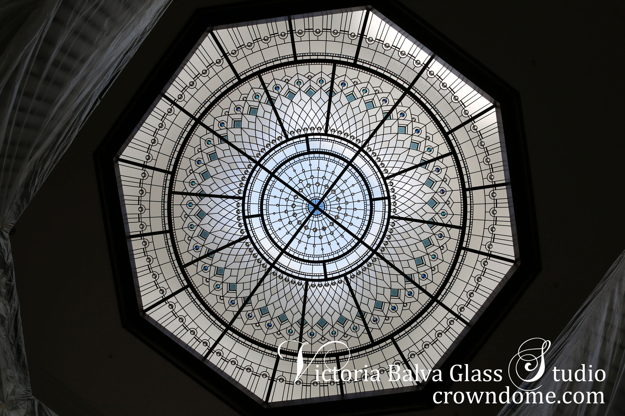 Stained glass dome ceiling Blue Lotus with custom bevelled glass and blue crystal jewels