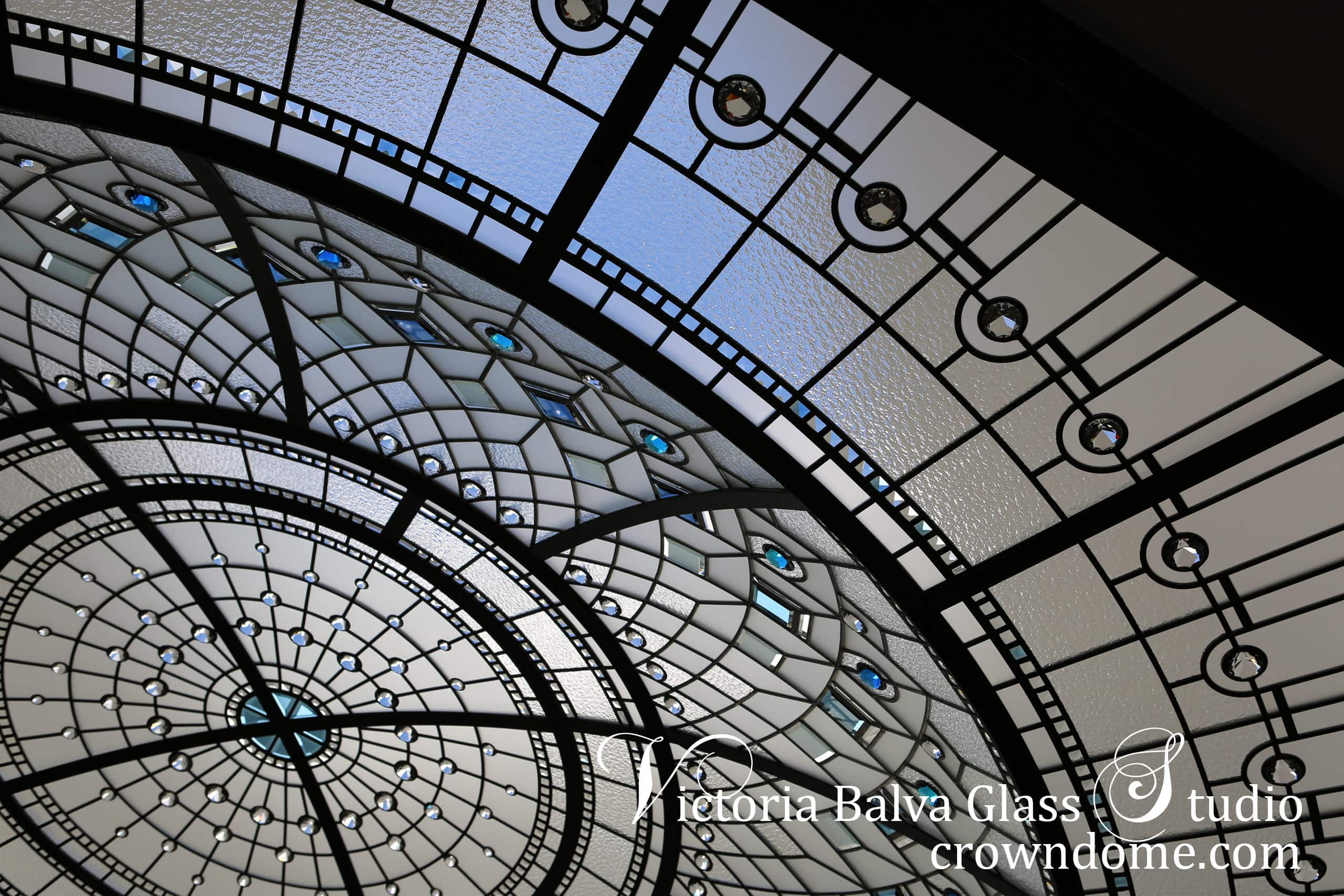 Stained glass dome ceiling Blue Lotus with octagon flat border, custom bevelled glass and blue crystal jewel accents