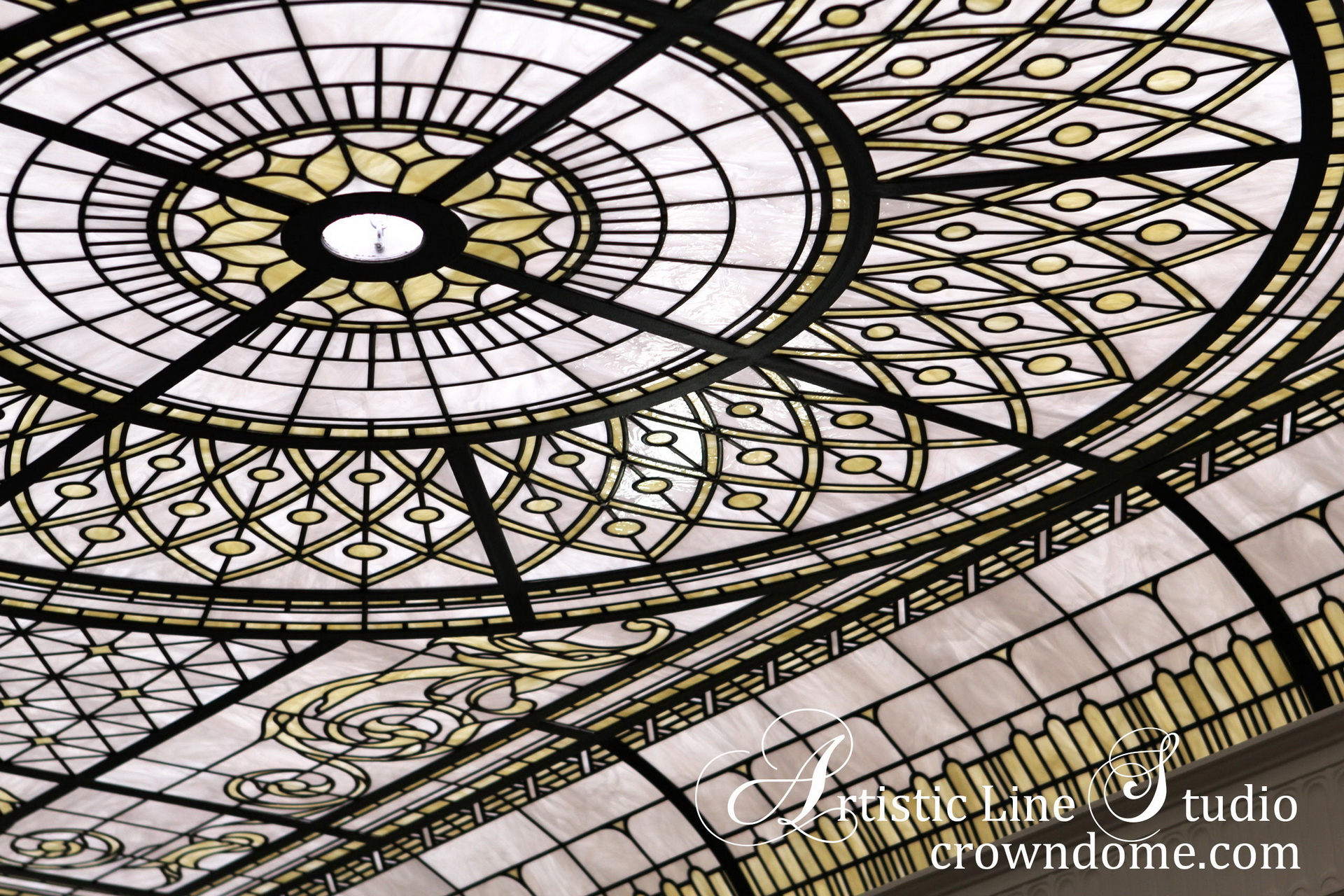 Stained leaded glass skylight decorative glass ceiling for a foyer of a luxury estate by Granoff Architects. Stained leaded glass decorative ceiling design by glass artist Victoria Balva in pale ivory and white opal glasses