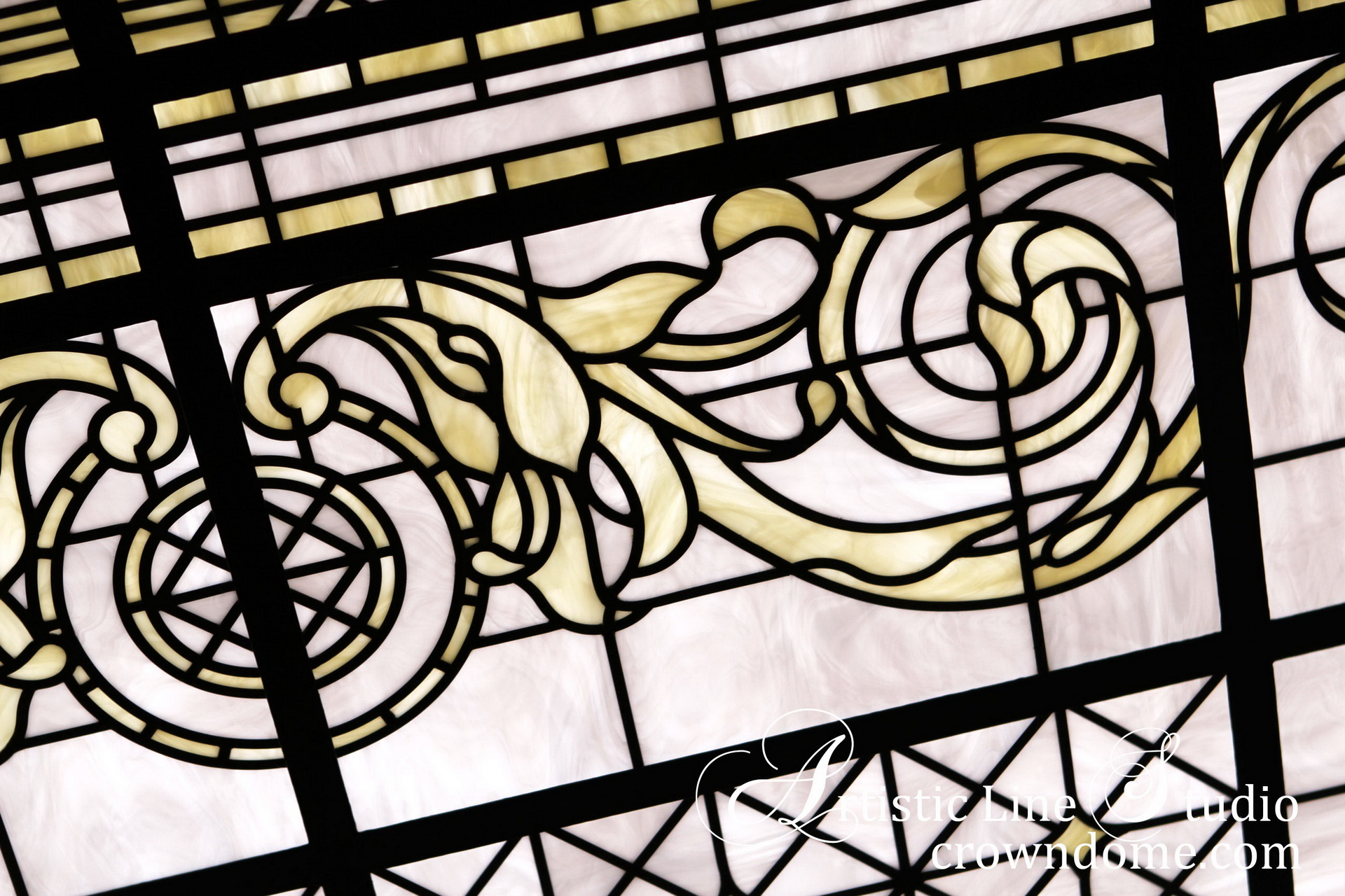 Stained leaded glass skylight ceiling design with rich leaded glass line work design to showcase the tender beauty of white and ivory opal glasses. With the reflection of classical design, the stained and leaded glass skylight design in contemporary style. Stained glass skylight ceiling