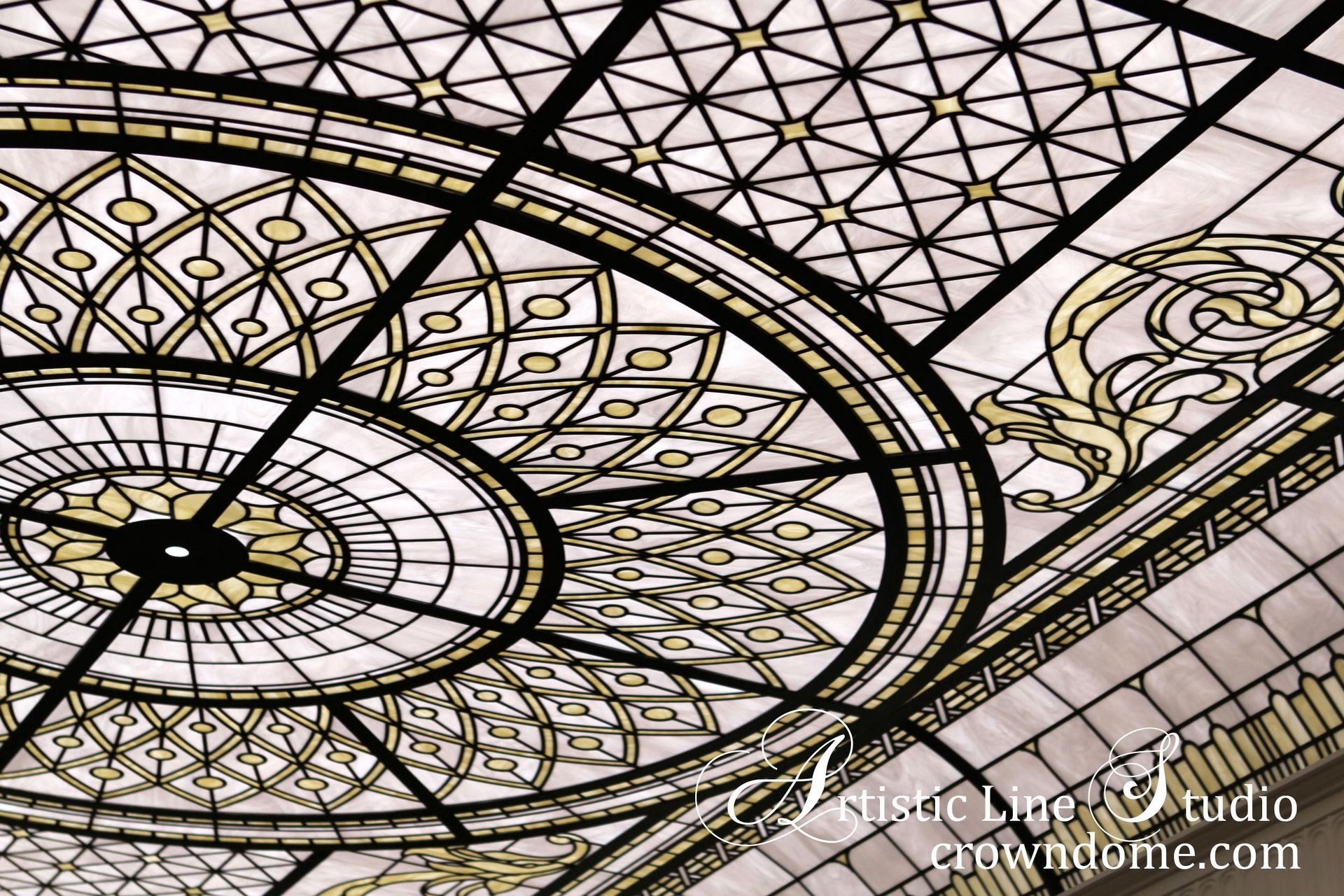 Stained glass skylight design. Stained glass ceiling elements, delicate elusive colors of white opal glasses, complex stained glass ceiling structure to support stained glass panels. Classical traditional style design, inspired by historical stained glass skylights and ceilings