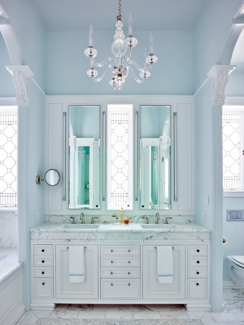 master batrhroom vanity with stained glass windows