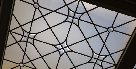 Stained leaded glass skylight ceiling Warren Road