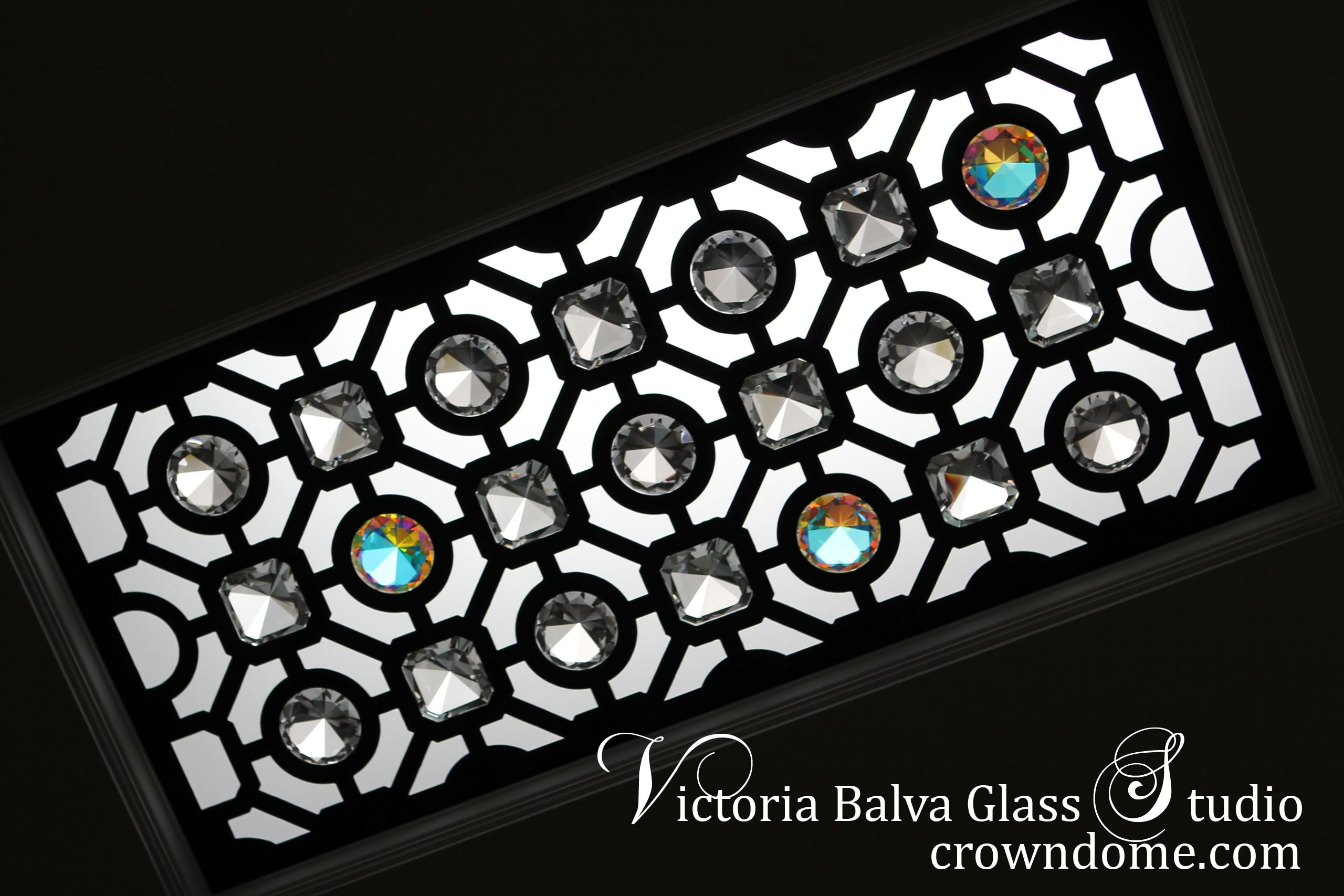 Classically inspired beautiful leaded glass ceiling lay light skylight CNC cut with crystal jewels for a bathroom of a luxury custom built residence