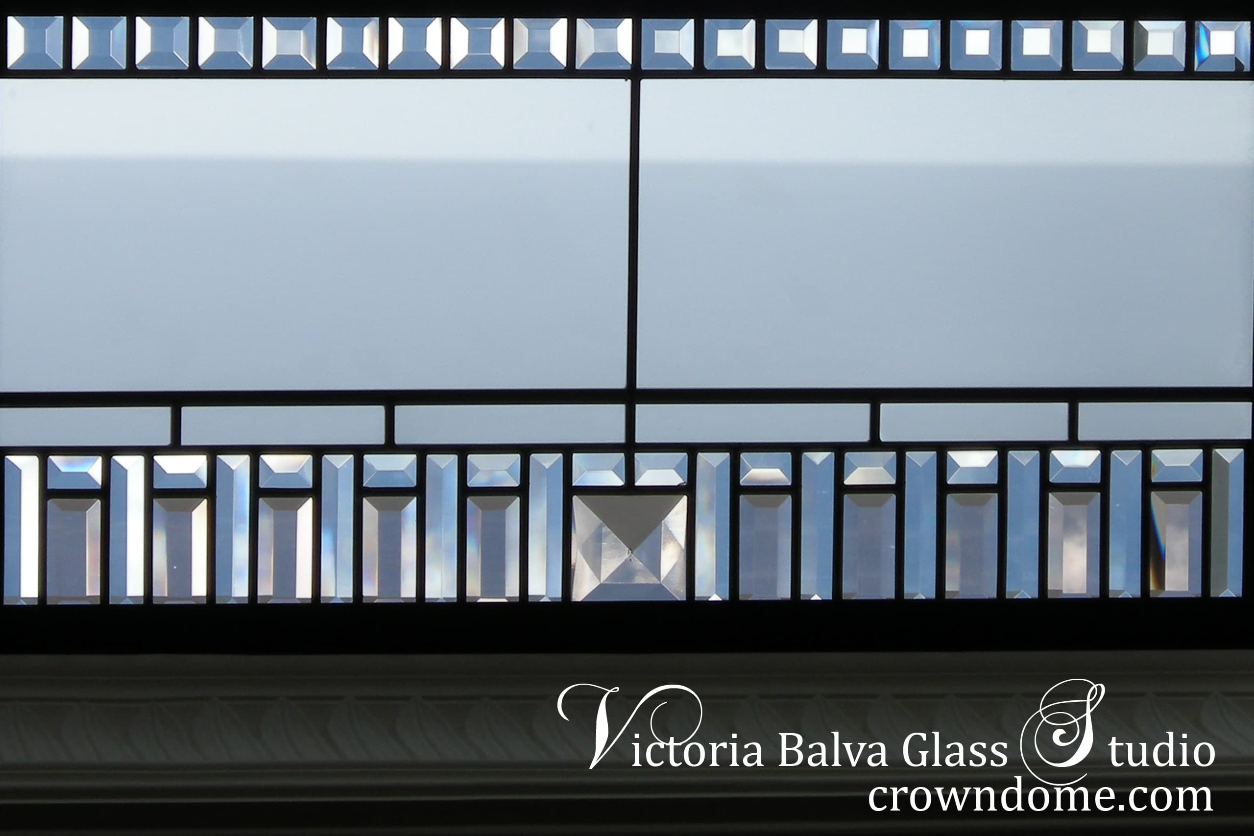 leaded glass skylight w clear acid, colored  beveled glass and custom made jewels border detail