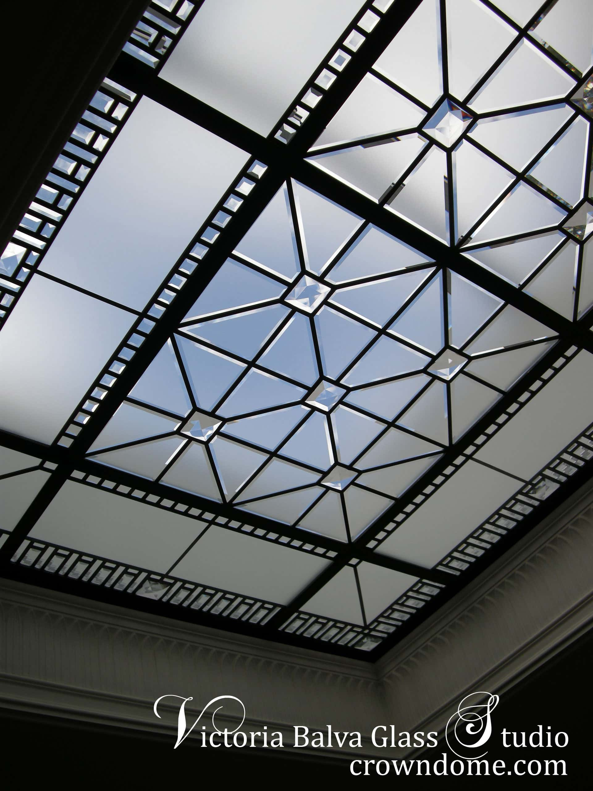 Large custom beveled leaded glass skylight Amedeo Detail with clear custom beveled border, large acid etched custom beveled pieces and special order glass jewels as accents