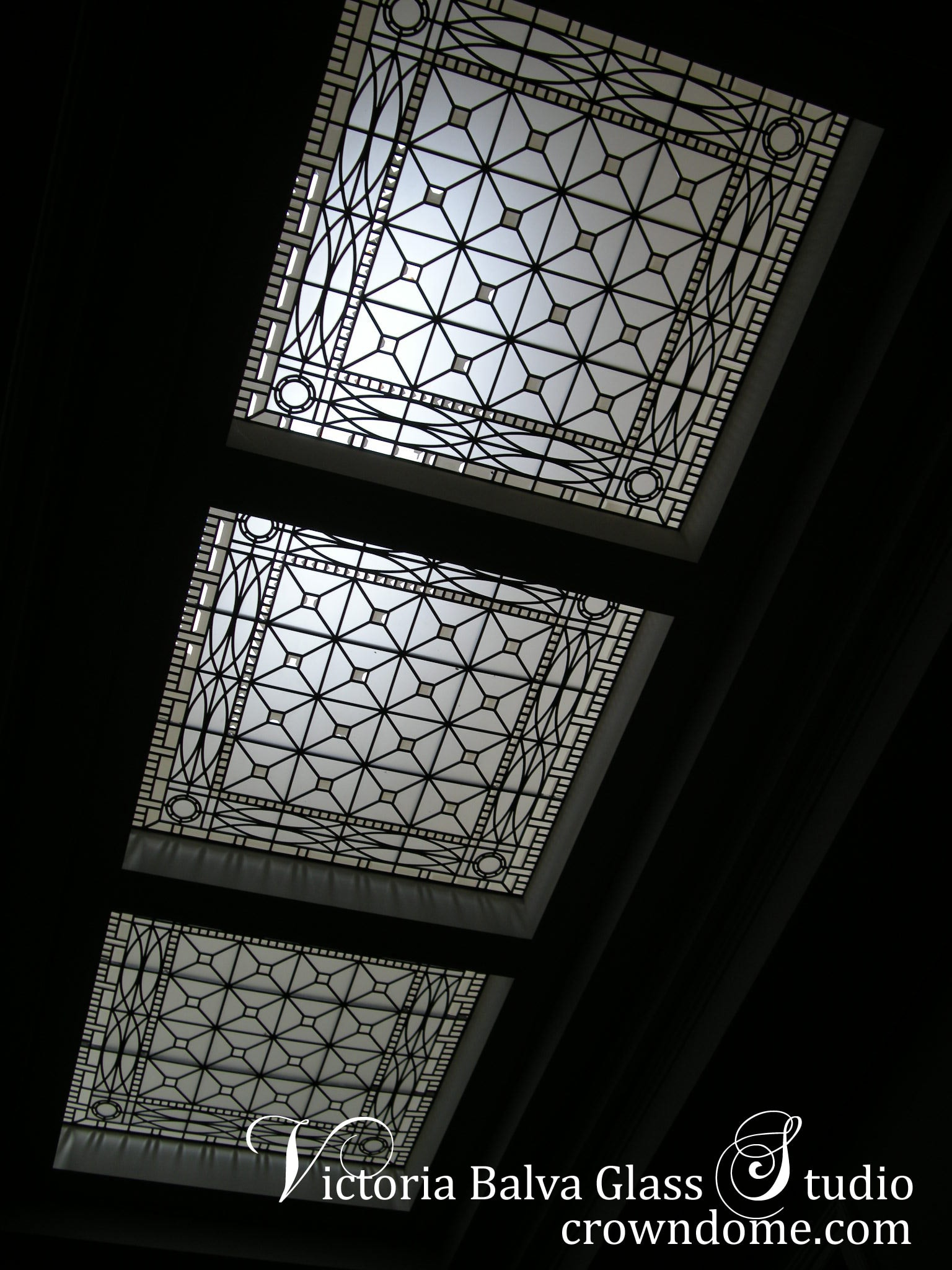 Stained and leaded glass skylight in traditional English Manor style