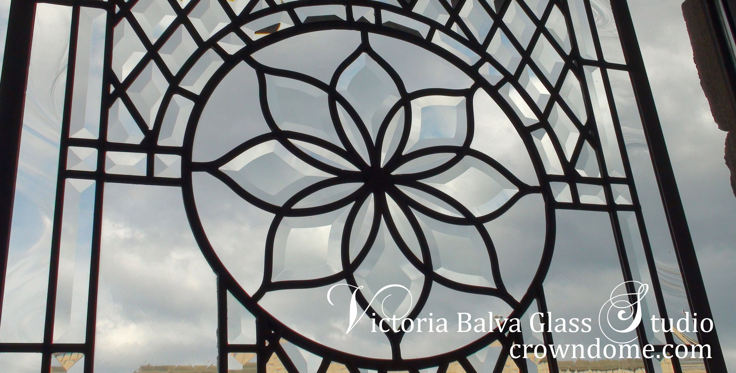 Custom made beveled leaded glass window Linda for a dining room to add privacy to space. Clear beveled glass, intricate line work design by glass artist Victoria Balva