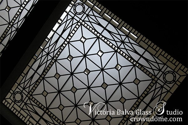 Bevelled leaded glass skylight ceiling classicstaircase landing custon built home Hogg's Hollow