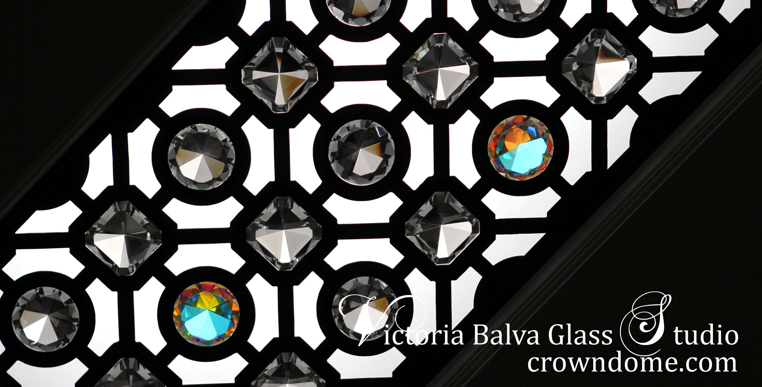 Classically inspired beautiful contemporary ornamental leaded glass ceiling lay light CNC cut with large crystal jewels for a bathroom of a luxury custom built residence