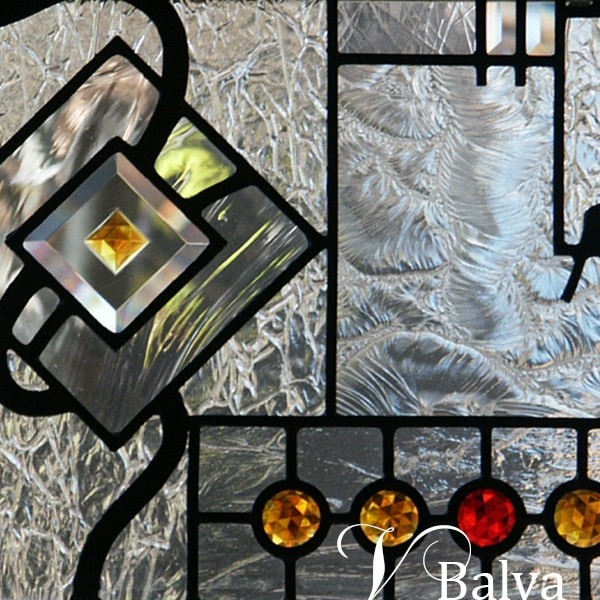 contemporary stained leaded glass window w mouthblown textured clear glass coloured accents jewels