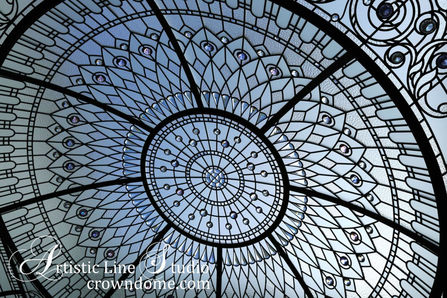 custom hand bevelled glass pieces for a stained leaded glass domed ceiling skylight with clear textured glasses and crystal jewels