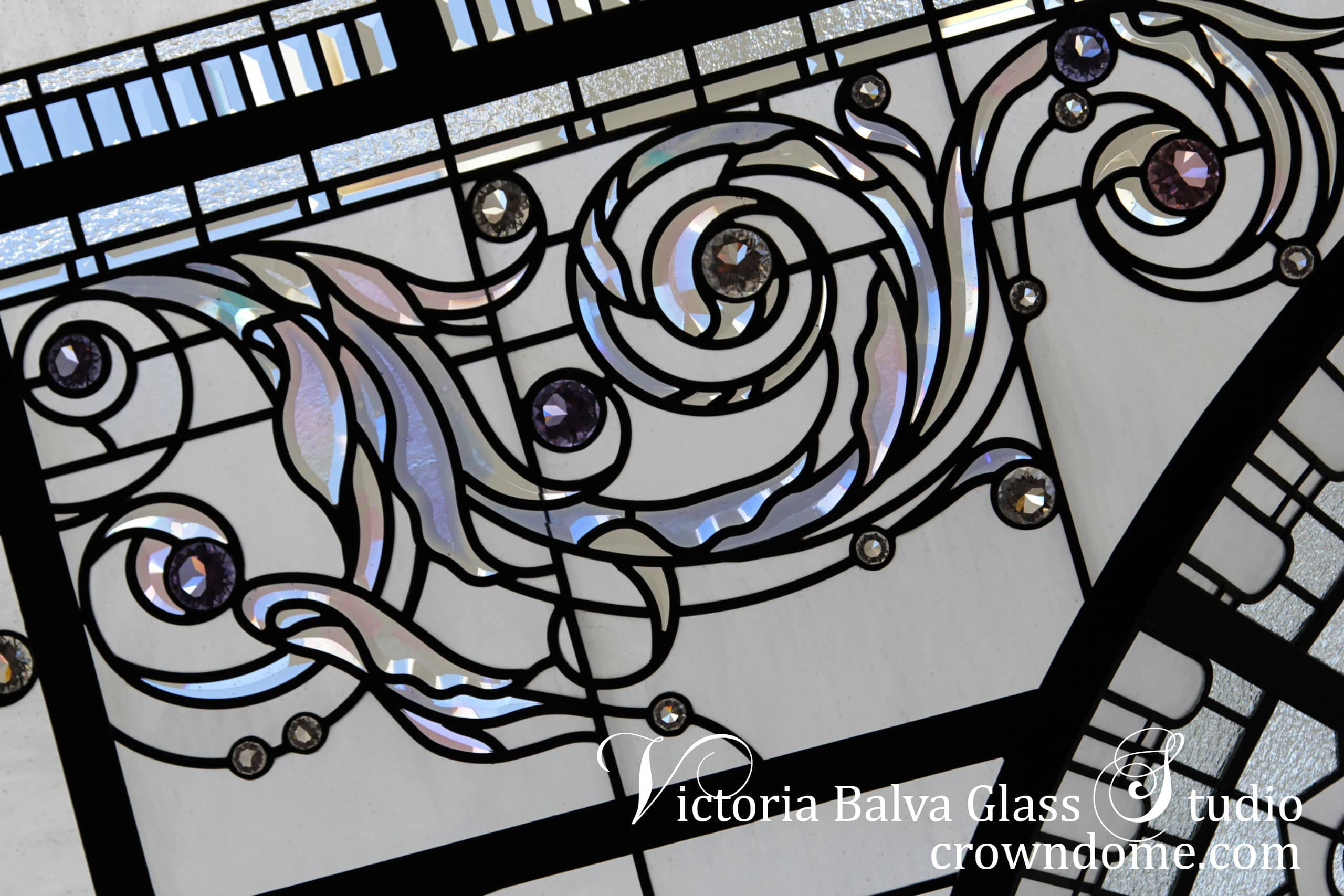 Custom designed beveled glass cluster acanthus detail for large stained leaded glass dome lay light ceiling. Clear textured architectural glass, custom stained leaded glass dome design, accent crystal jewels for custom built residential skylight. Glass design by glass artist Victoria Balva