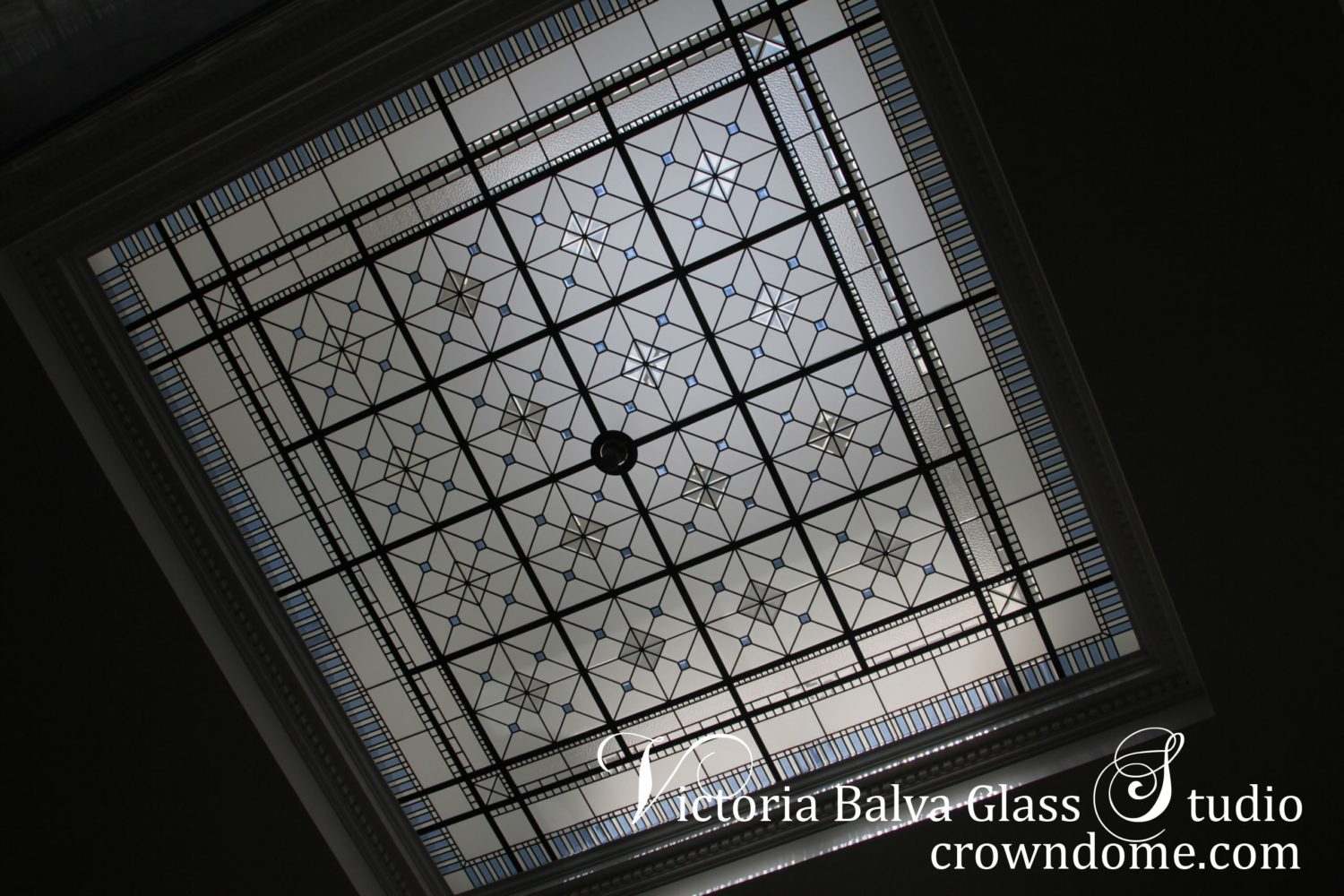 Custom made stained leaded glass skylight ceiling with hand bevelled blue and clear glass pieces