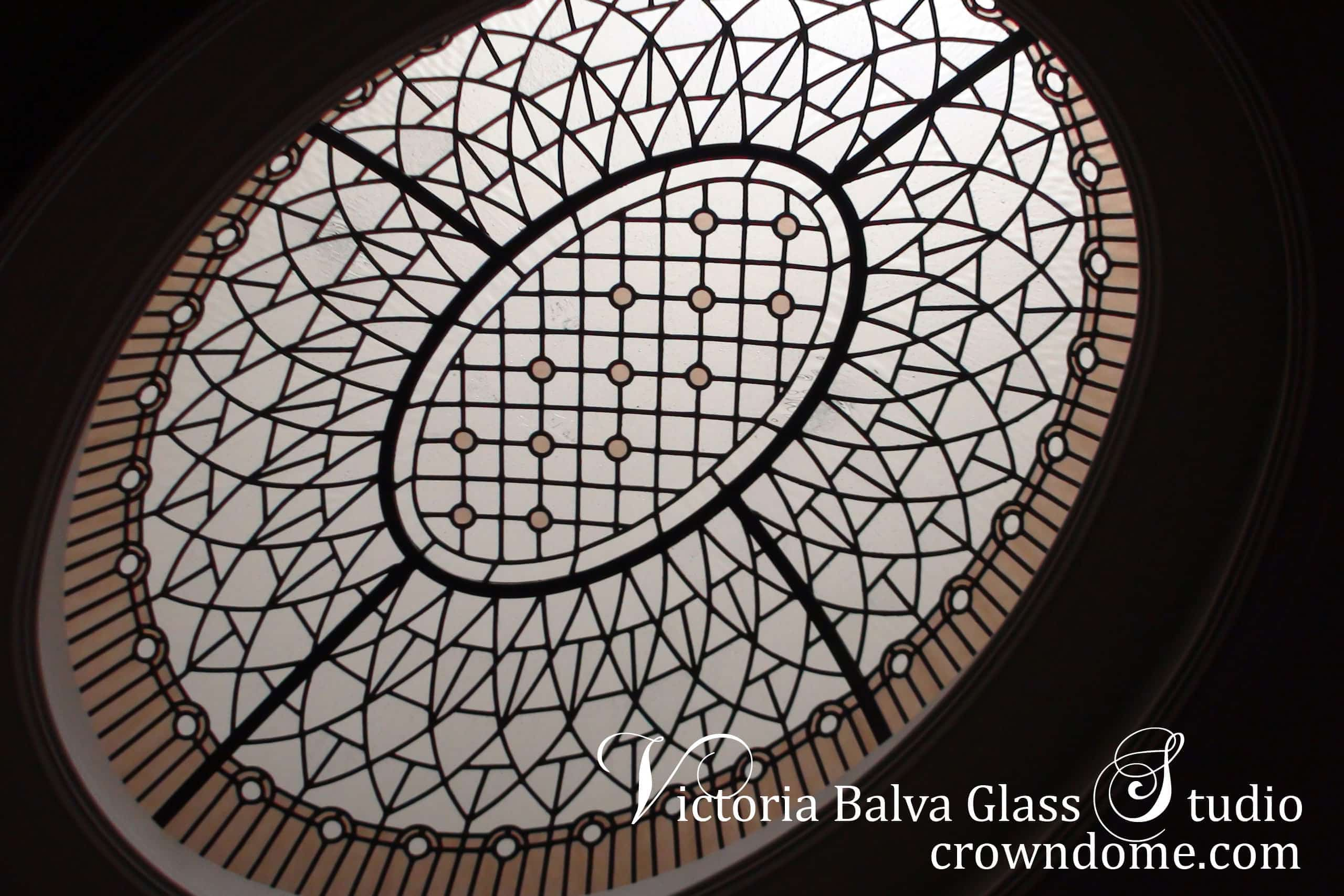 Custom designed leaded glass oval dome skylight lay light for a hallway of custom built luxury house