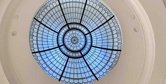 Custom stained leaded glass dome w crystal jewel accents