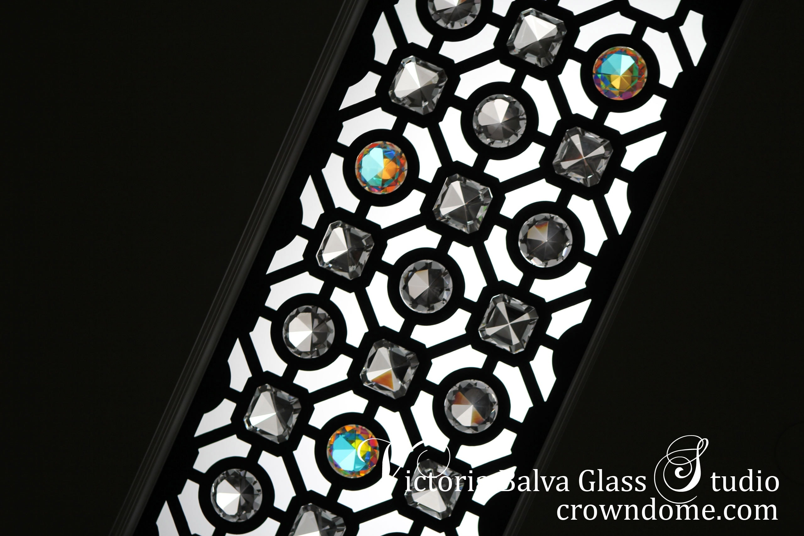 Classically inspired contemporary ornamental leaded glass ceiling lay light water jet cut with large crystal jewels for a bathroom of a luxury custom built residence