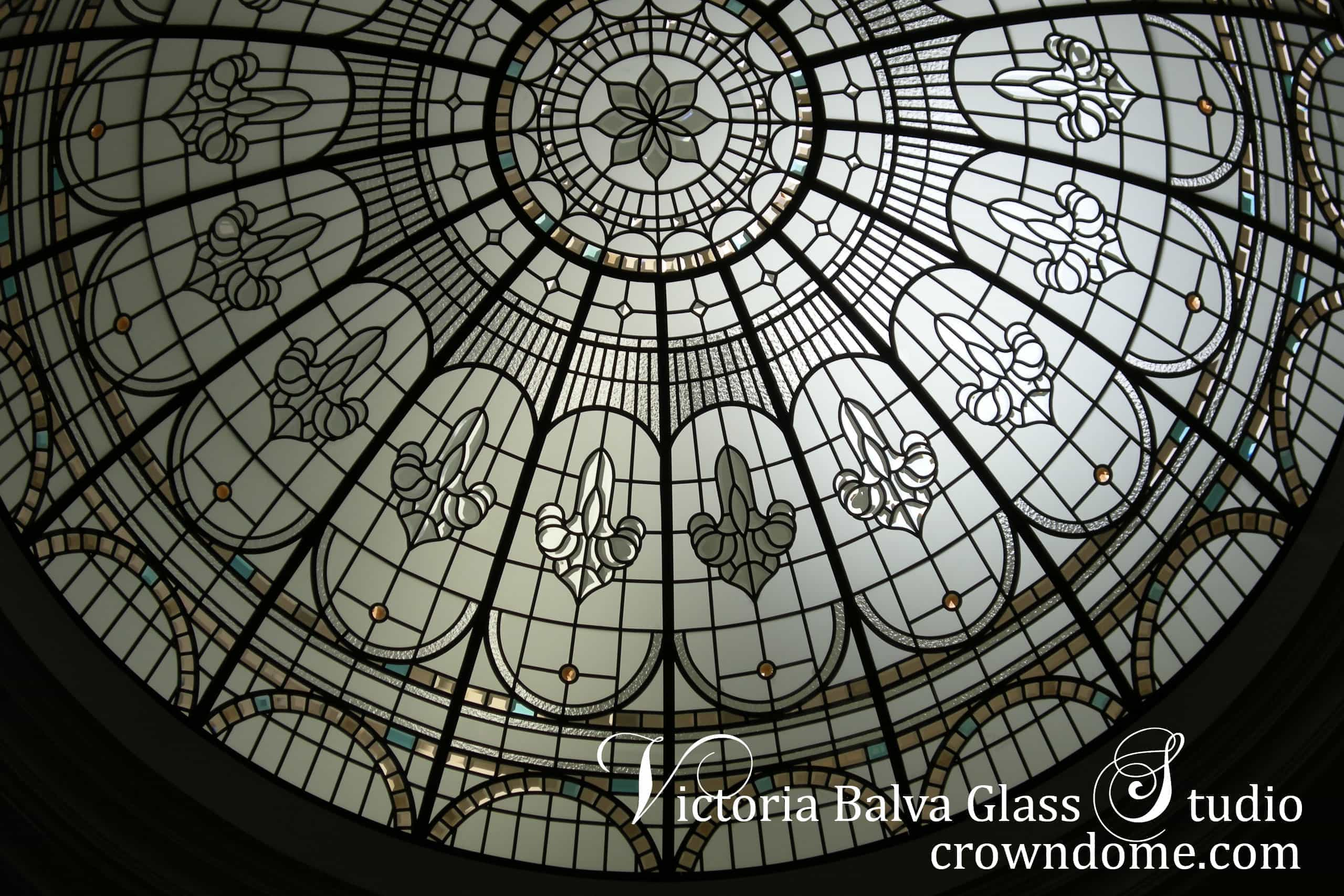 Stained and leaded glass dome in a day light