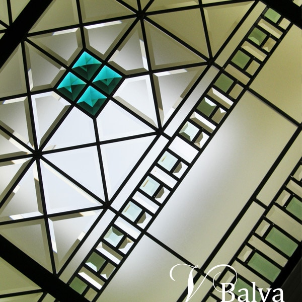 Stained beveled leaded glass skylight Emerald Point