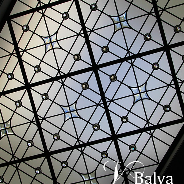 Custom stained leaded glass skylight Milky Way