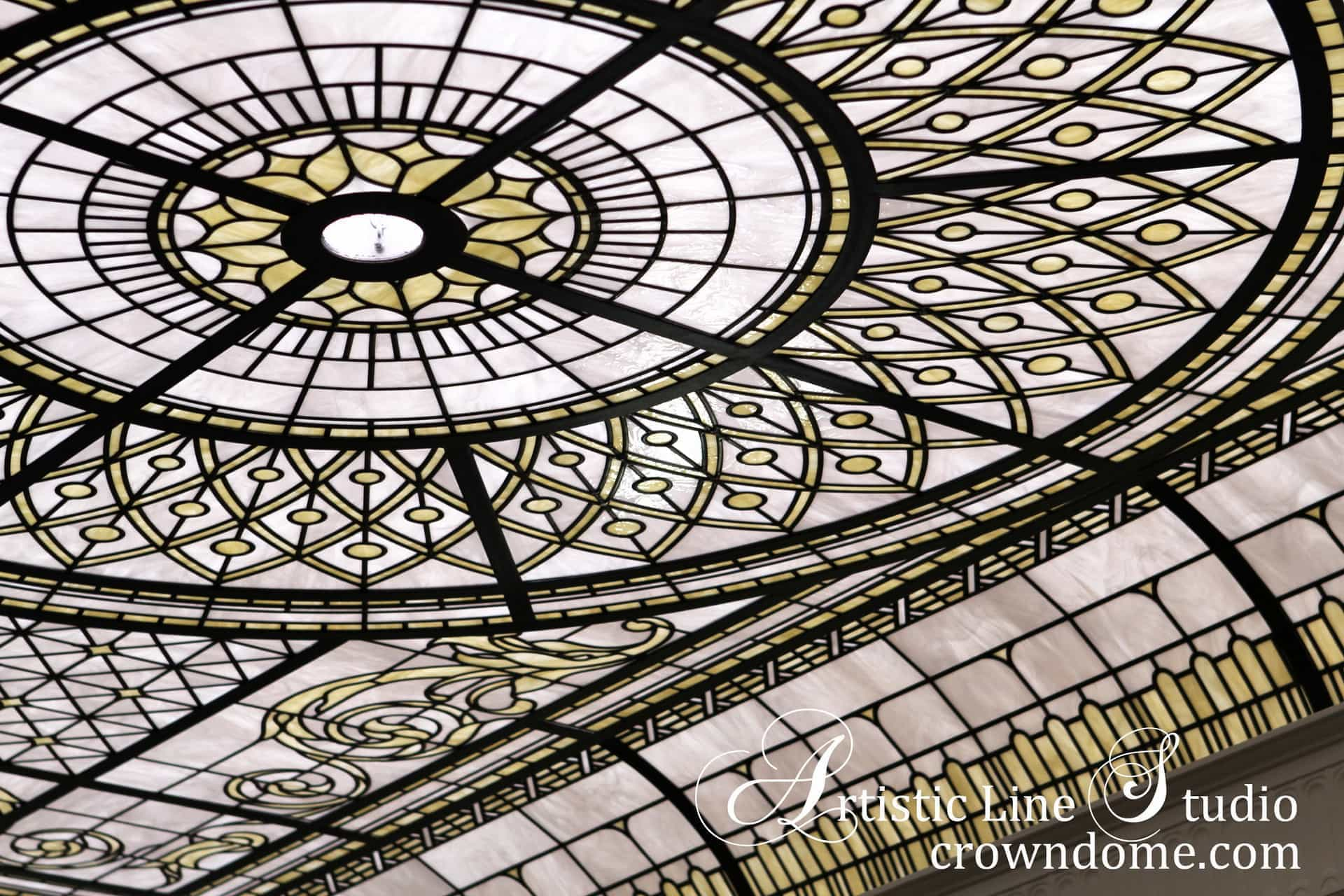 Stained and leaded glass decorative ceiling