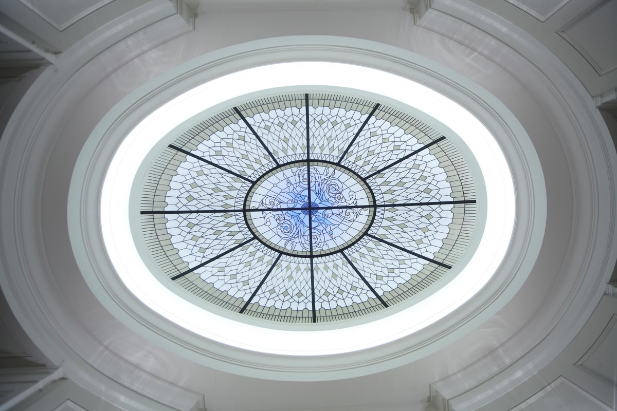 large stained glass oval dome for a hallway of a custom built residence in Toronto