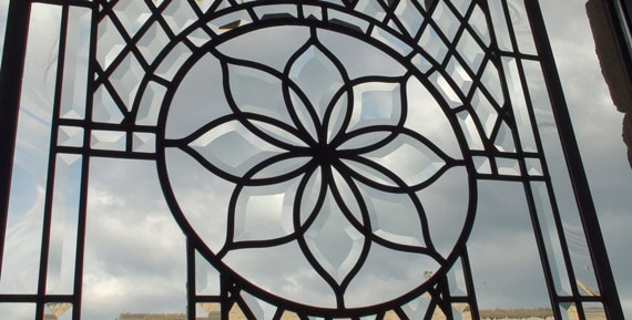 Beautiful beveled leaded glass window group Linda