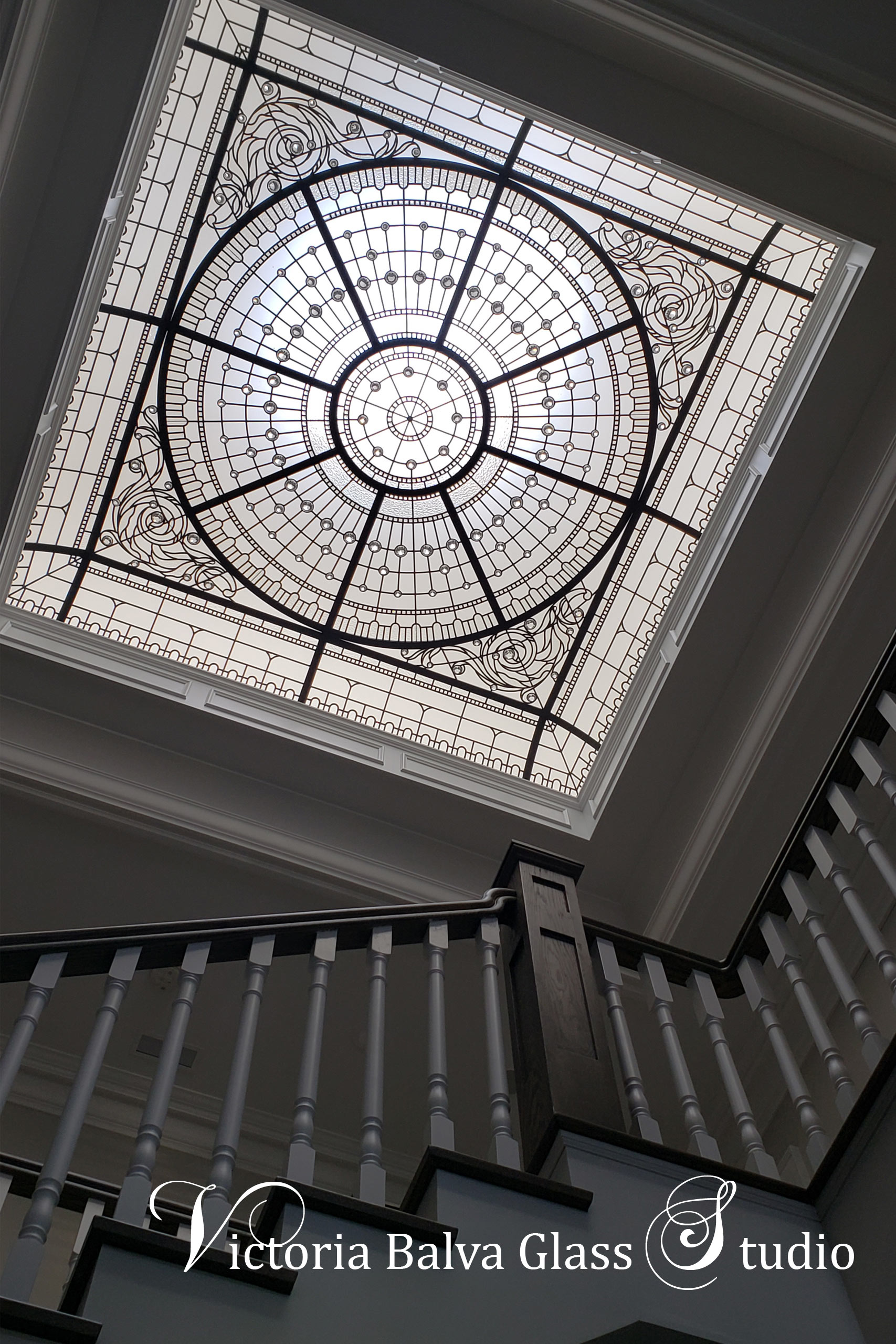 Beautiful colorless leaded glass skylight for house interior