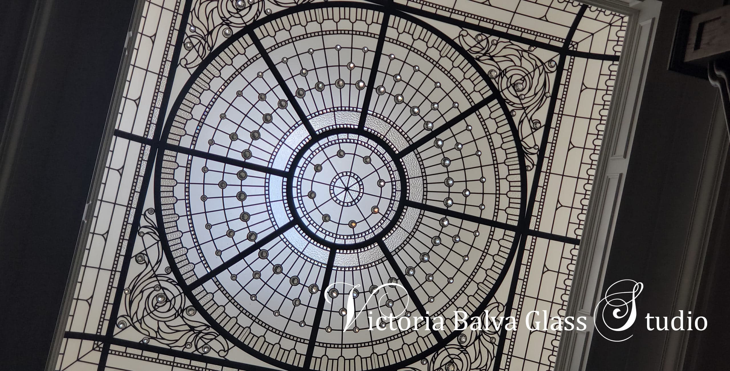 Beautiful monochromatic leaded glass skylight for foyer of a private residence in Toronto[