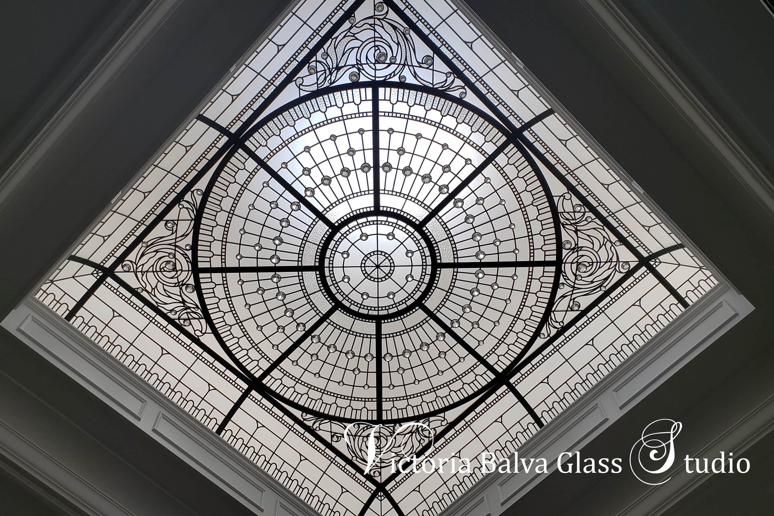 Monochromatic clear architectural leaded glass decorative skylight ceiling with barrel raised borders, accent crystal diamonds & beveled glass for the interior design of custom built luxury residence. Classically modern leaded glass skylight designed by architectural glass artist Victoria Balva