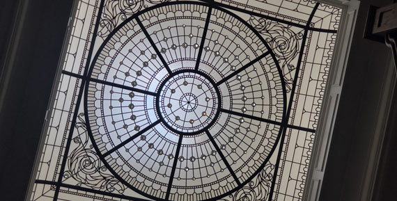 Classically modern monochromatic leaded glass skylight ceiling Silver Hills